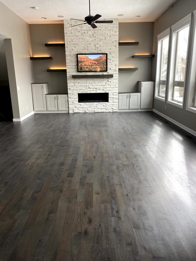 Hickory Floor in a Living Room